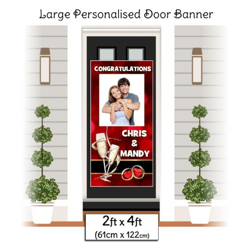 Personalised Congratulations Door PHOTO Banner Poster ~ Red Bokeh N35
